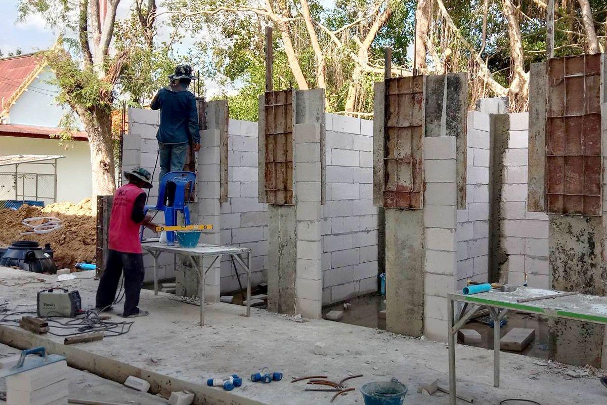 การก่อสร้างห้องน้ำ โรงเรียนบ้านธรรมรัตน์