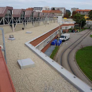 Ansicht bekieste Dachfläche