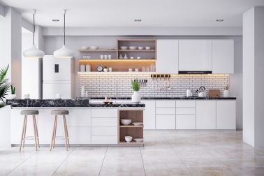 A Cozy Modern kitchen white room interior .3drender