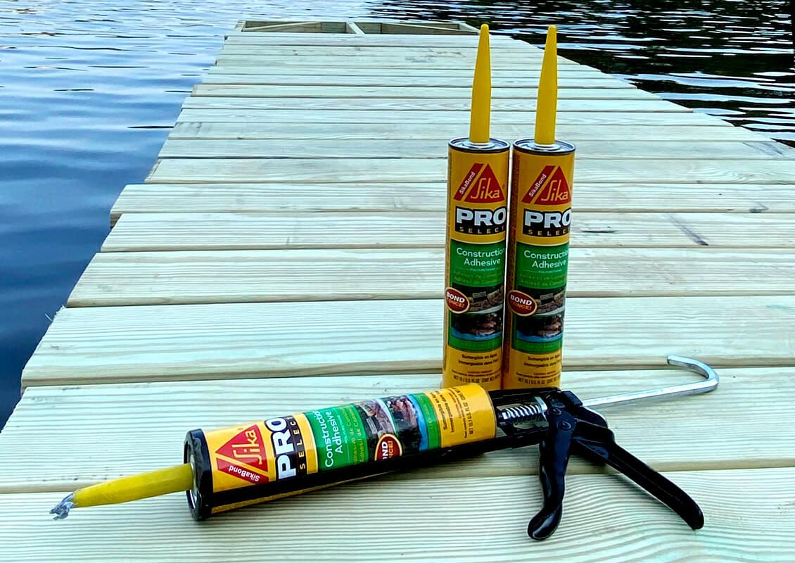 Dock with Construction Adhesive