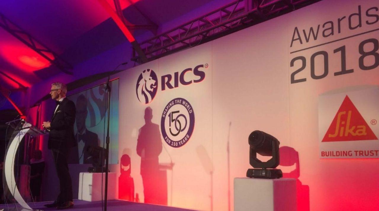 Rod Benson presenting at the RICS Awards