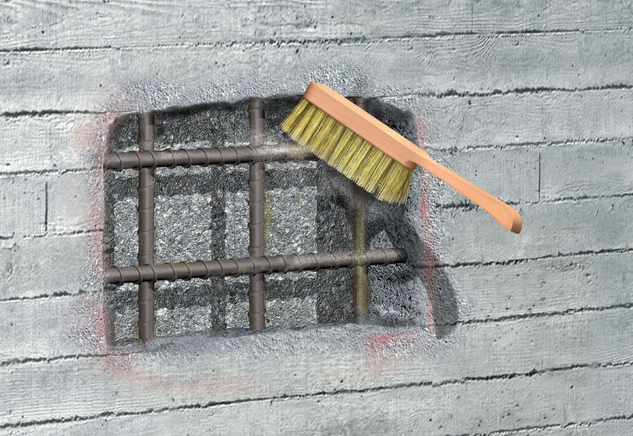 Wire brush cleaning of steel rebar