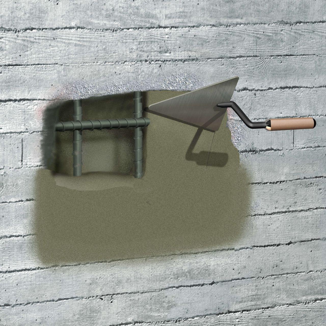 Concrete repair mortar being applied