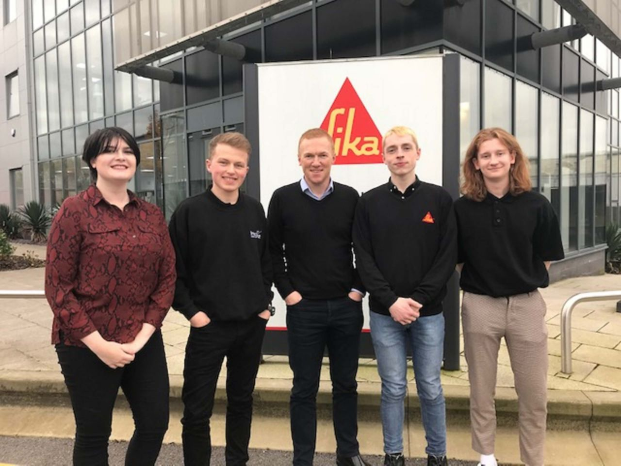 Mark Gatrell, Head of R&D (Centre) with Sika's current Industrial Placement Programme undergraduates