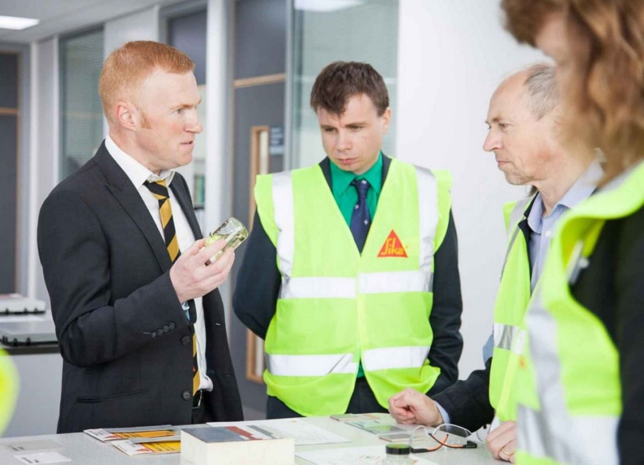Sika Limited's Mark Gatrell gives the guests an insight into R&D