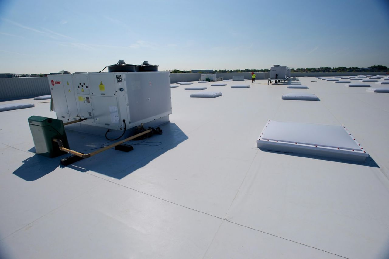 Sika Sarnafil Farnborough Costco warehouse flat roof