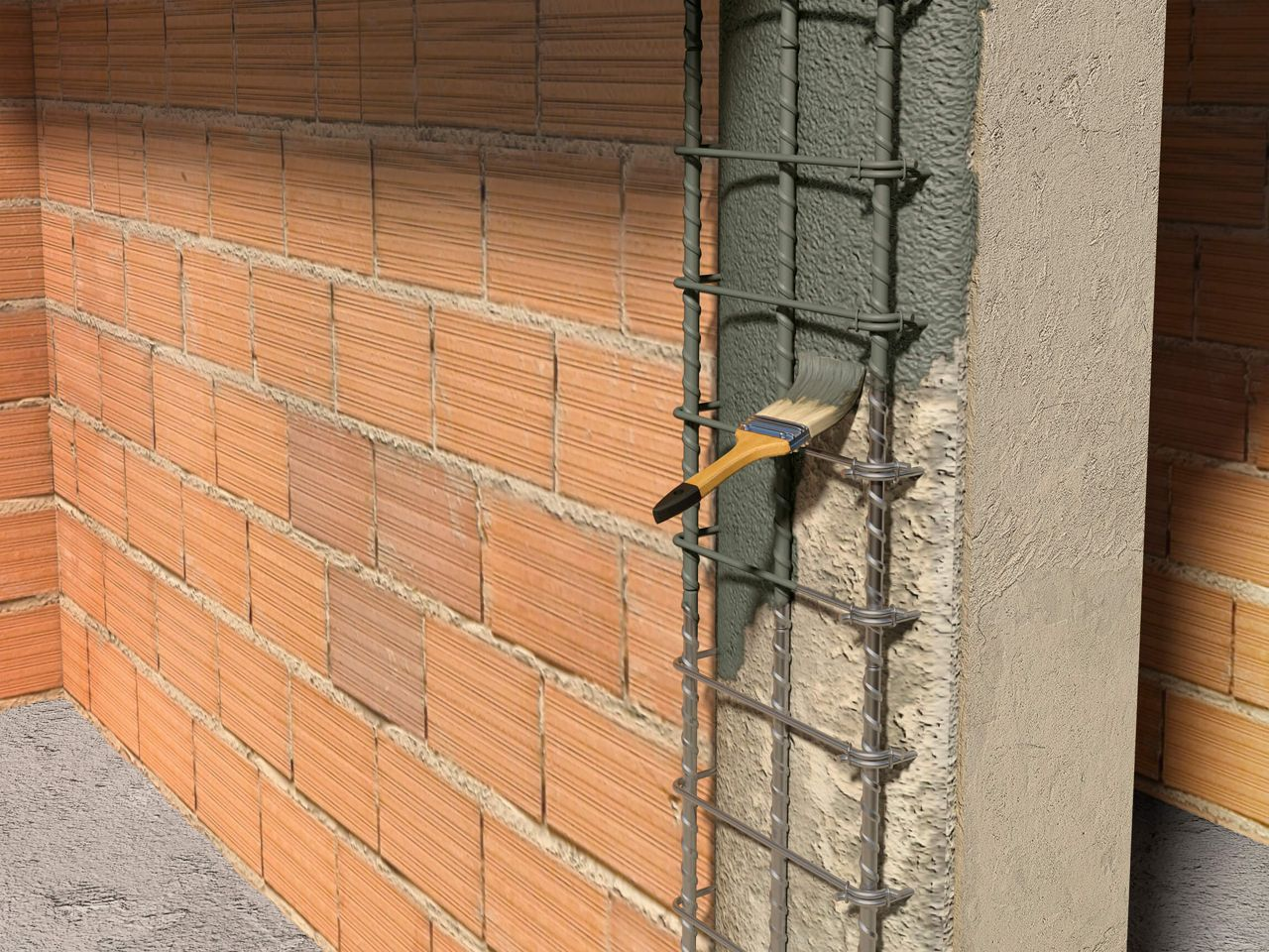 Concrete protection on a steel rebar
