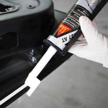 Application of Sikaflex®-AT paint shop repair solution on vehicle door