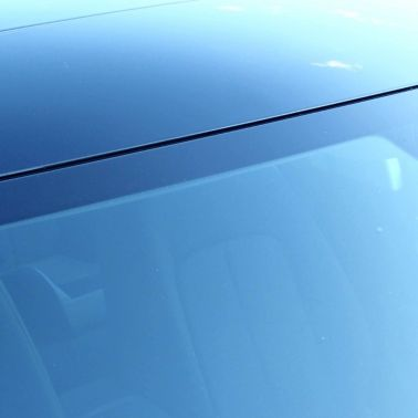 View of windshield using Sika assembly adhesive for direct glazing application