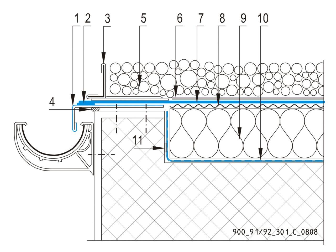CAD Detalji - sustav balastnog krova - odvodni kanal
