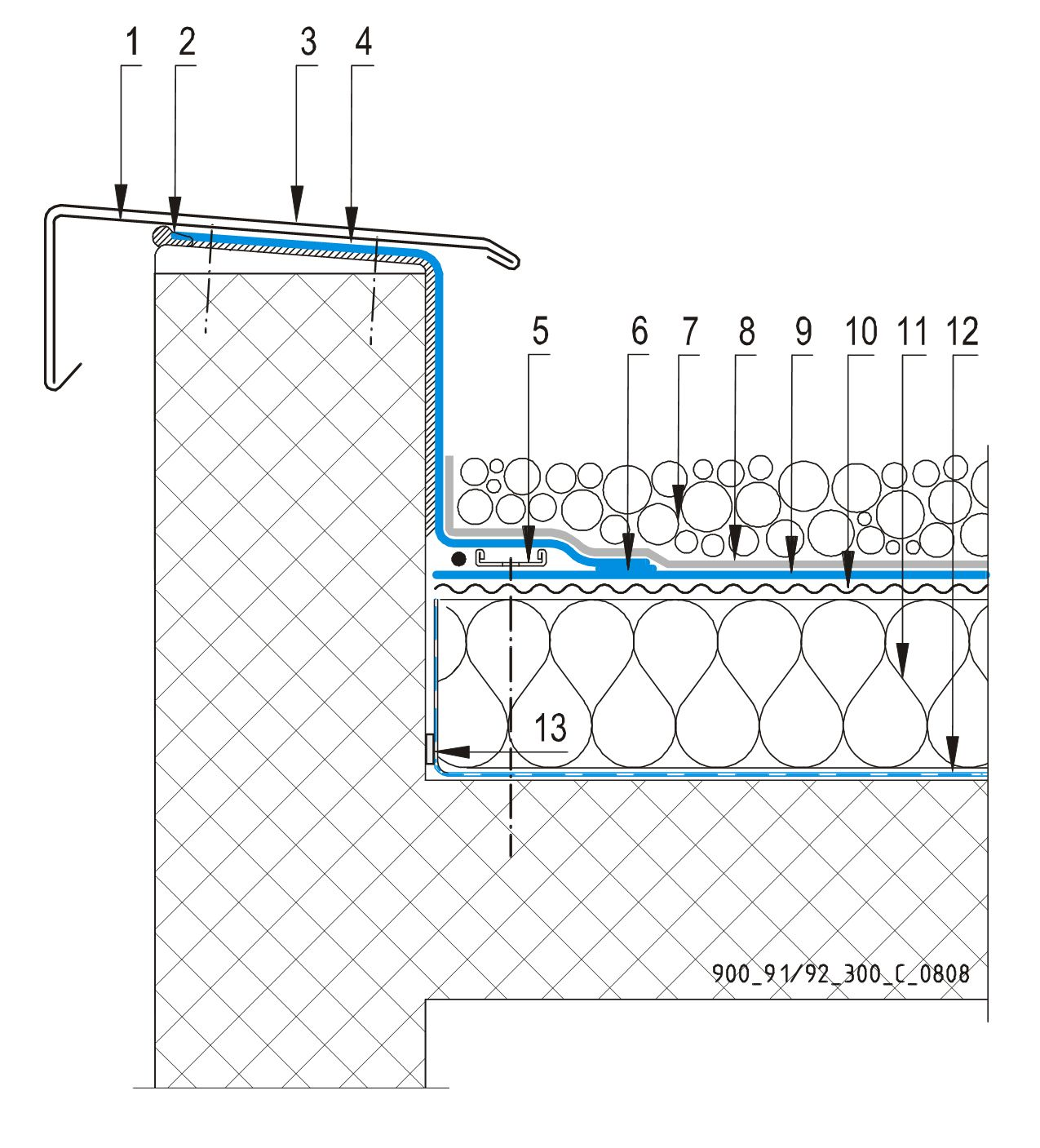 CAD Detalji - sustav balastnog krova - parapetni zid