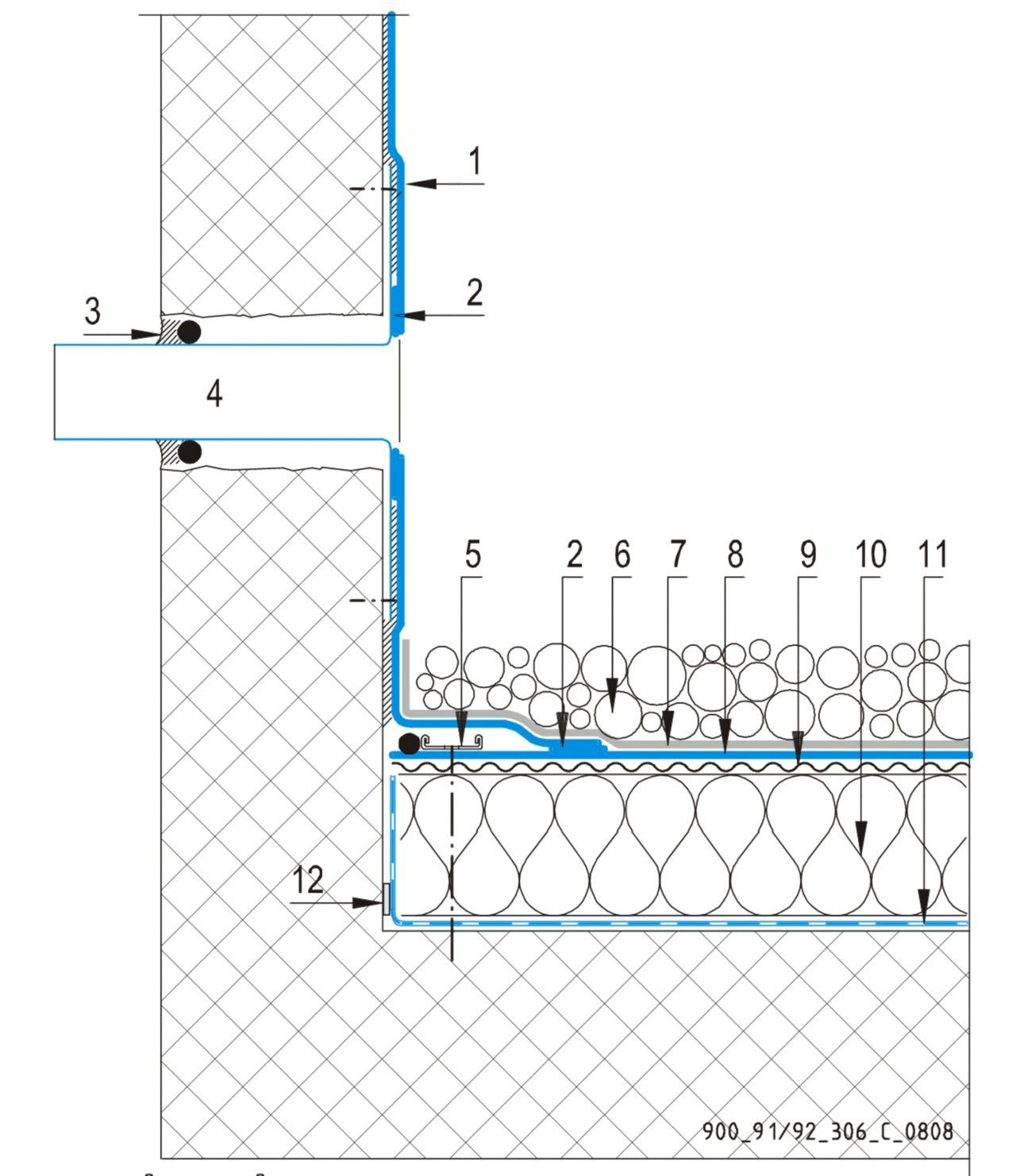 CAD Detalji - sustav balastnog krova - preljev