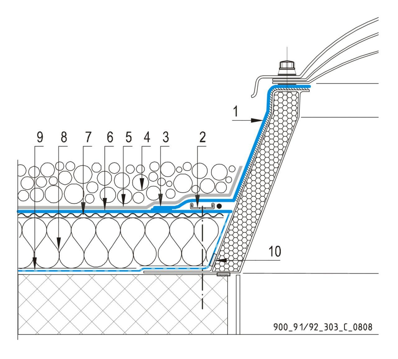 CAD Detalji - sustav balastnog krova - svjetlarnik
