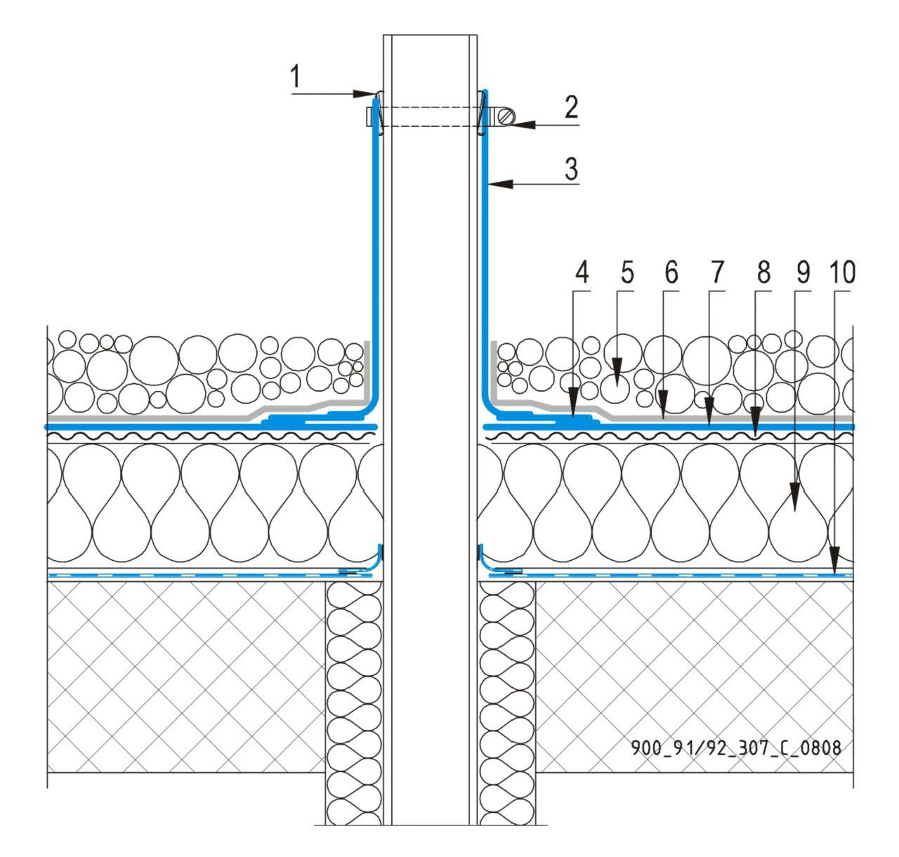 CAD Detalji - sustav balastnog krova - ventilacijska cijev