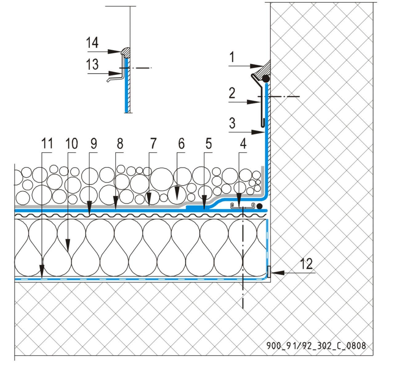 CAD Detalji - sustav balastnog krova - vertikalna površina