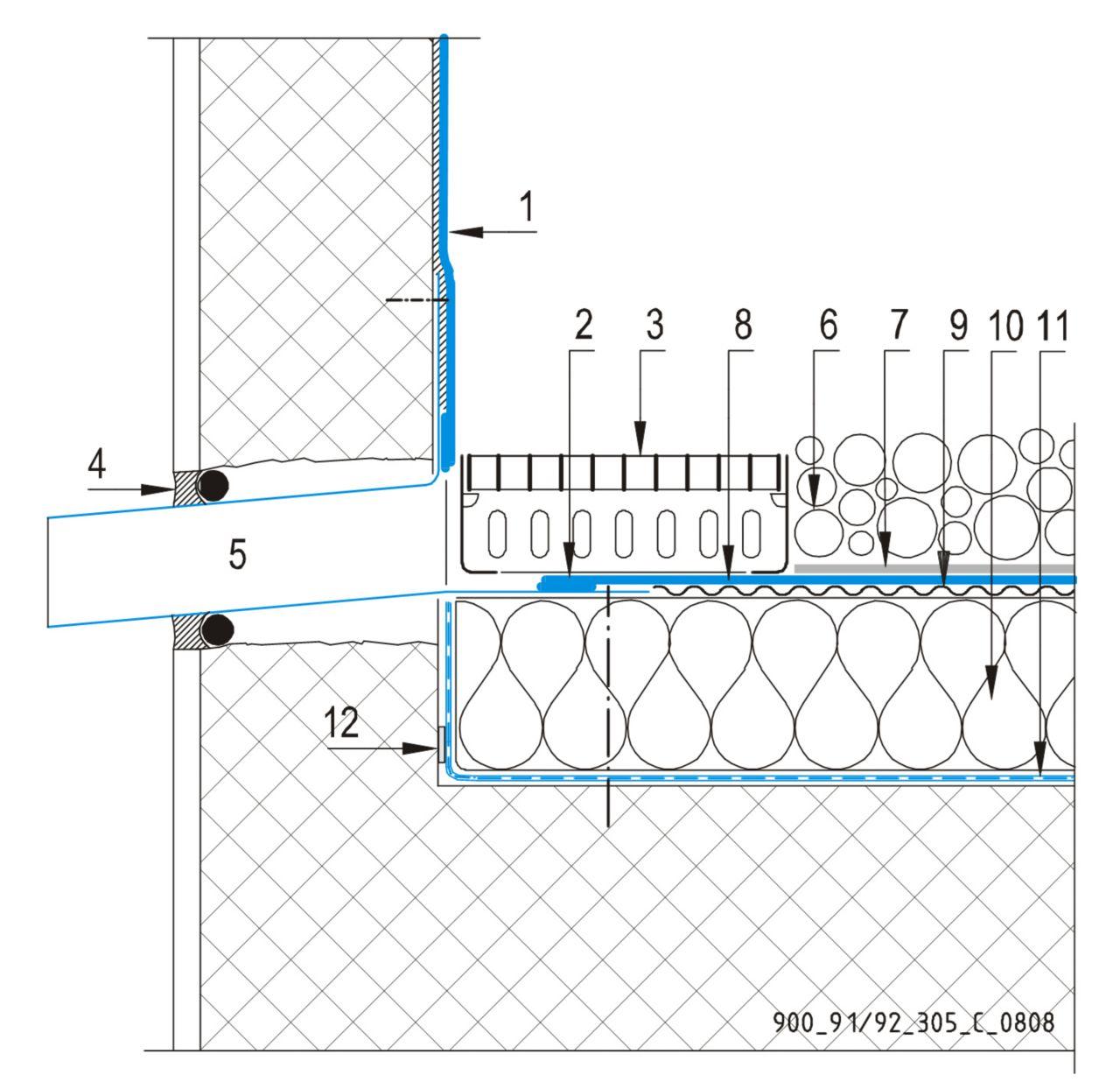 CAD Detalji - sustav balastnog krova - zidni slivnik