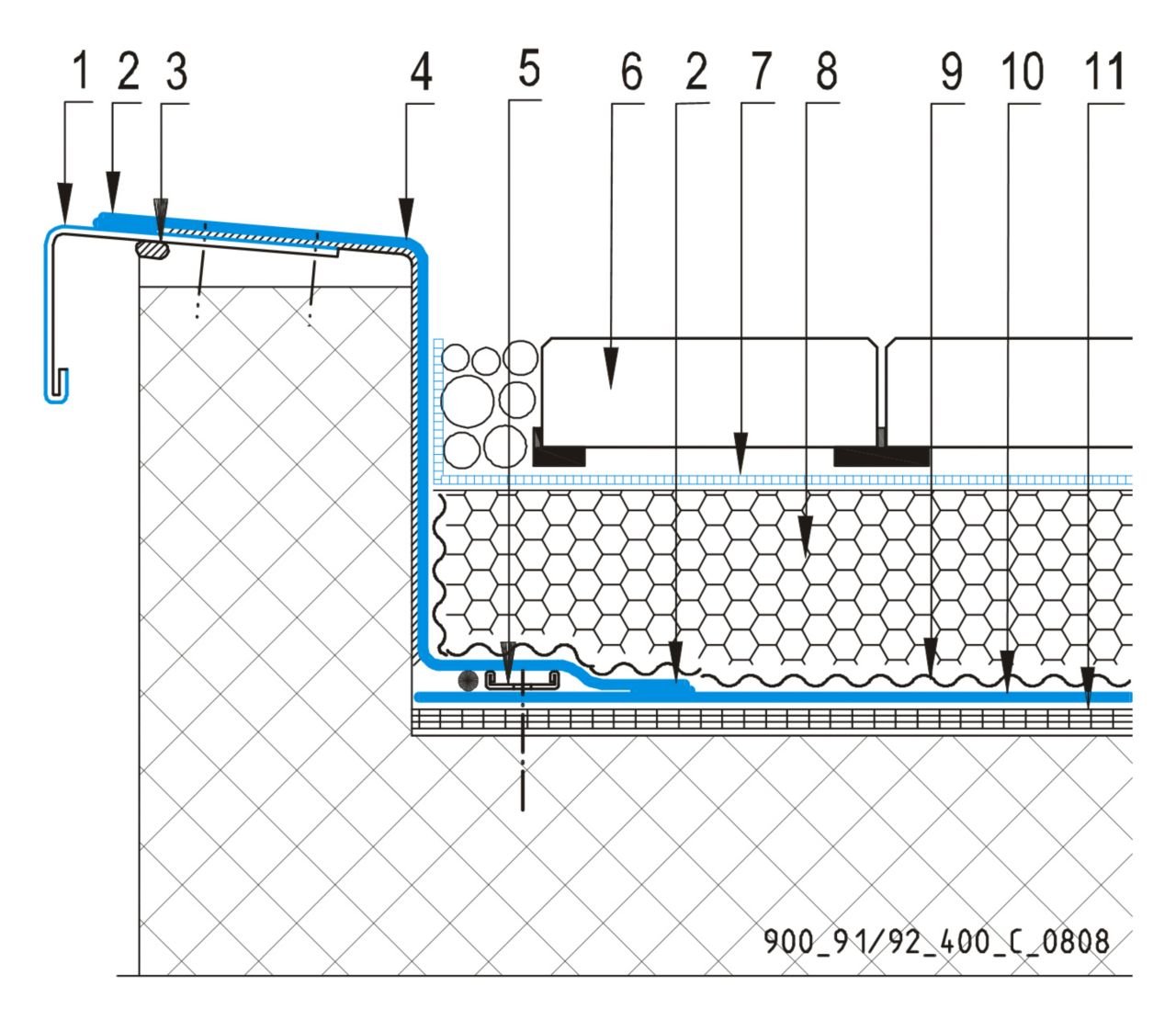 CAD Detalji - sustav inverznog krova - parapetni zid