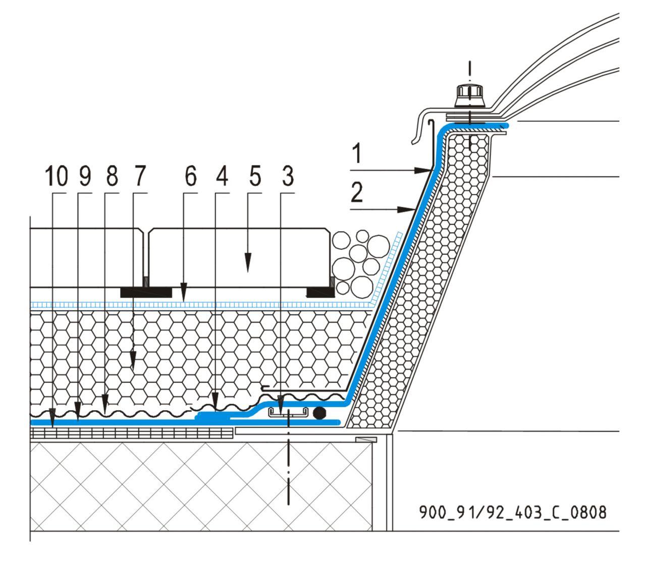 CAD Detalji - sustav inverznog krova - svjetlarnik