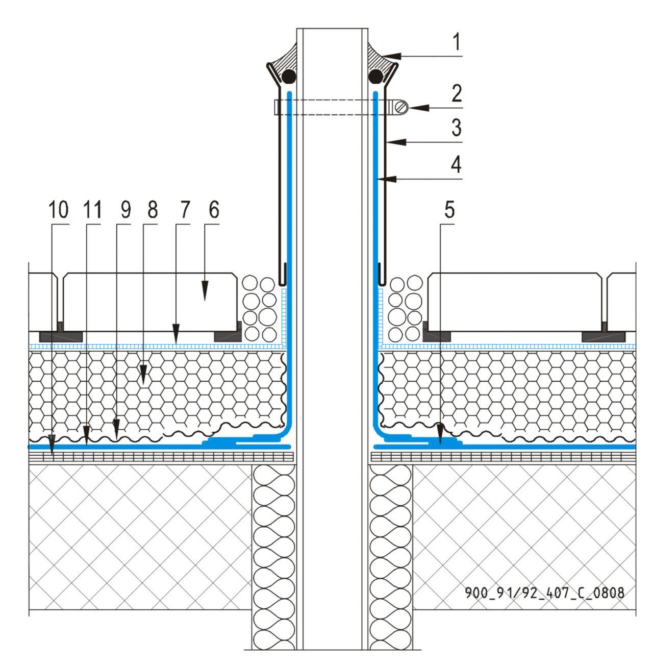 CAD Detalji - sustav inverznog krova - ventilacijska cijev