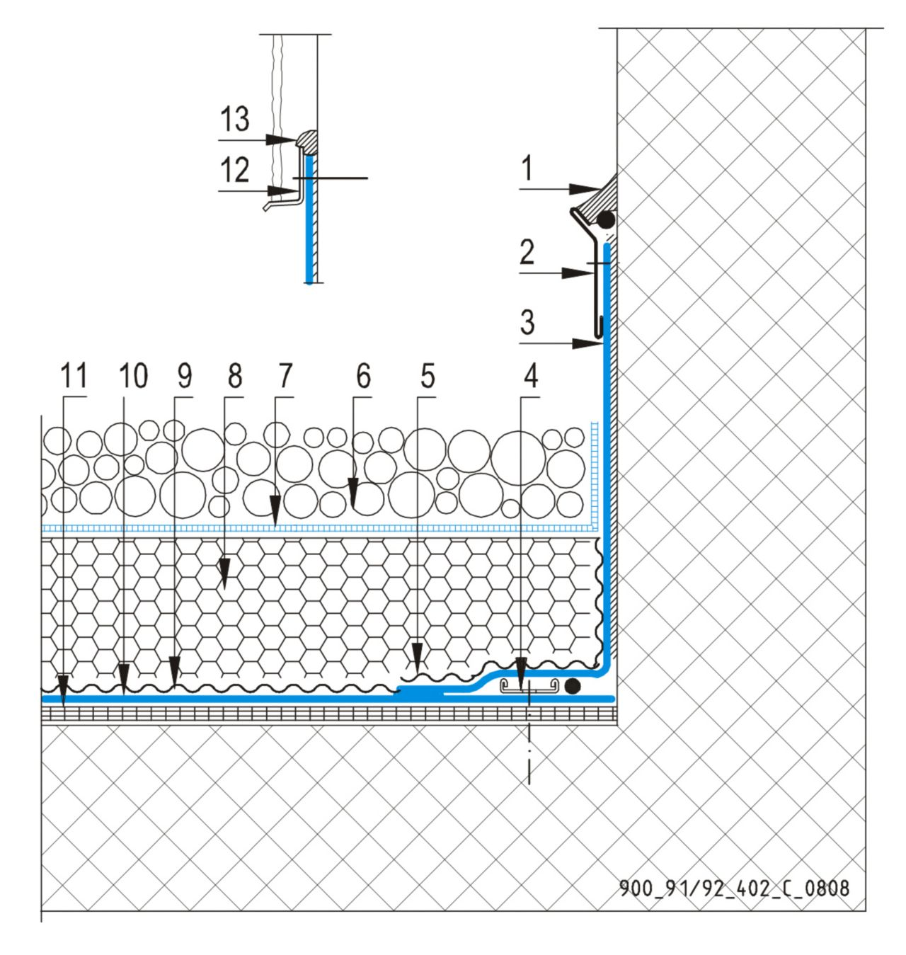 CAD Detalji - sustav inverznog krova - vertikalna površina