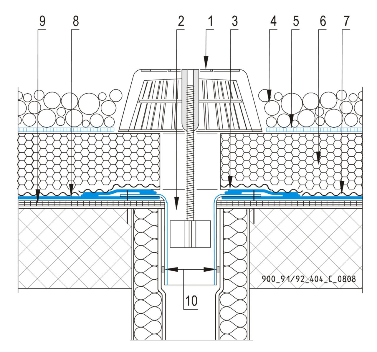 CAD Detalji - sustav inverznog krova - vertikalni slivnik
