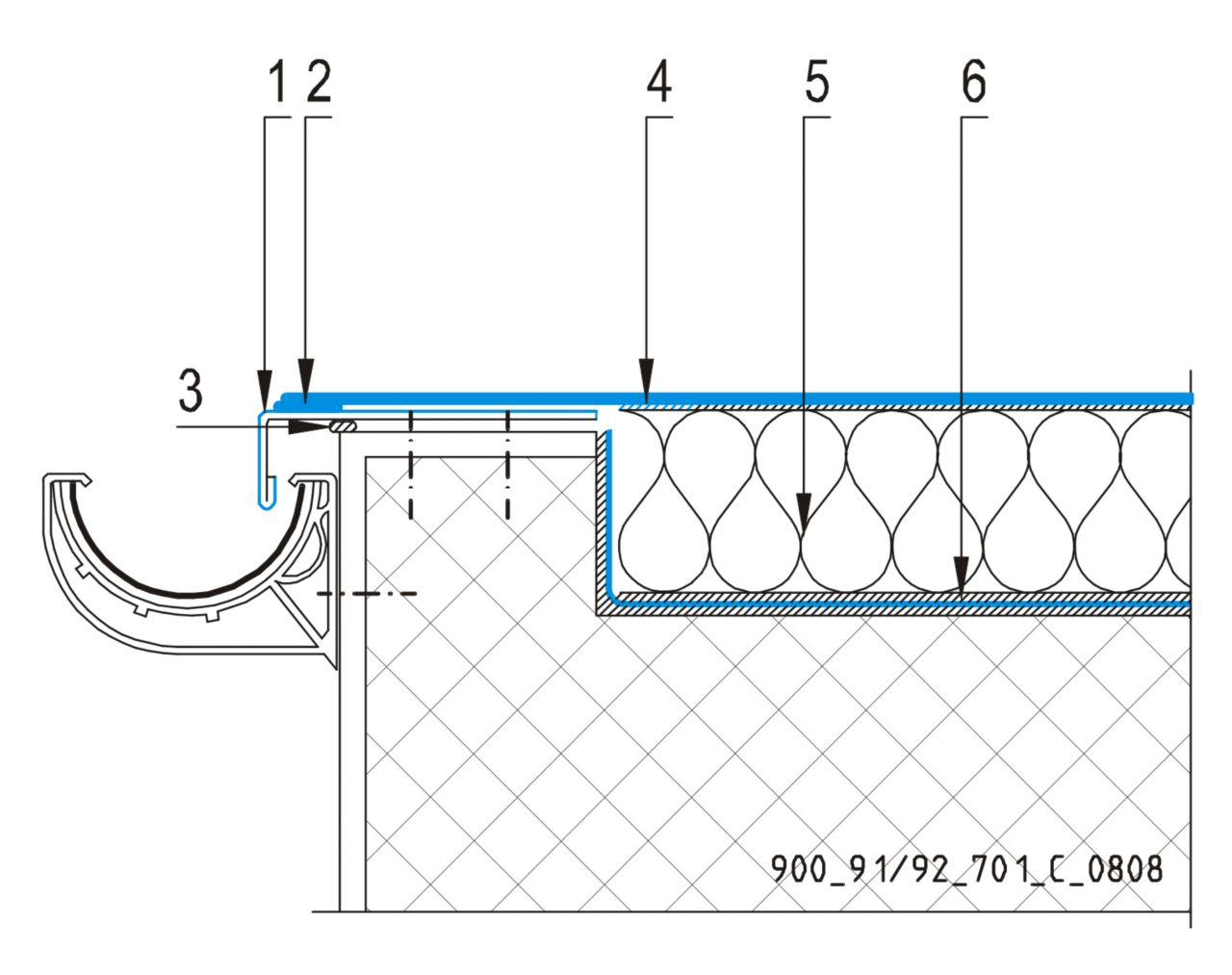 CAD Detalji - sustav lijepljenog krova - odvodni kanal