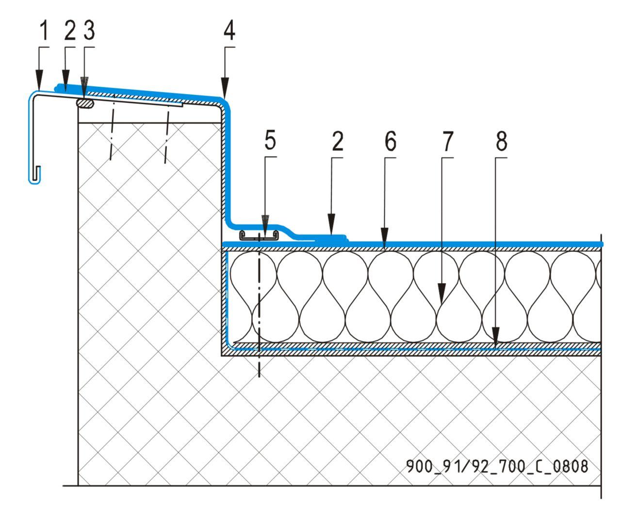 CAD Detalji - sustav lijepljenog krova - parapetni zid