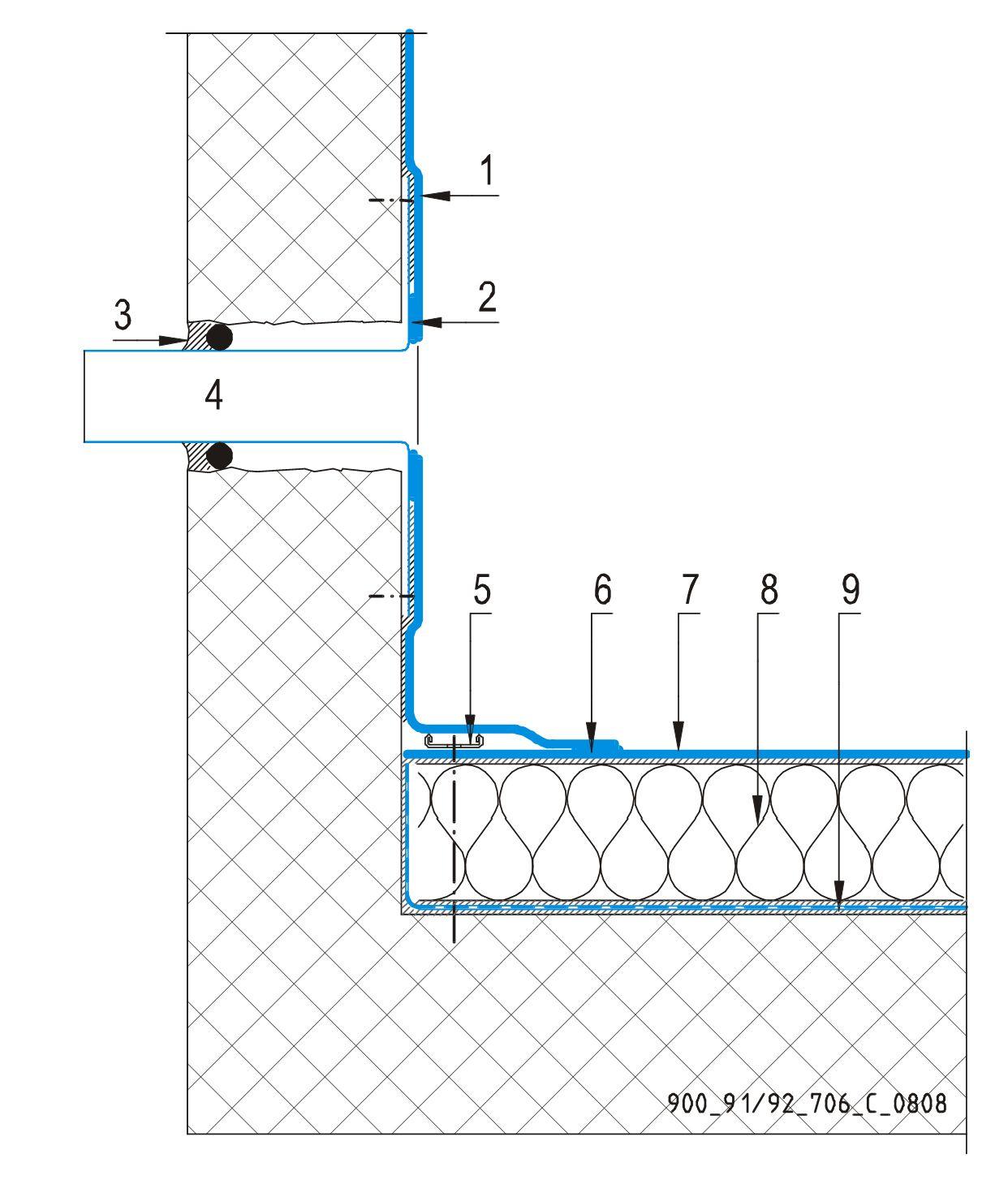 CAD Detalji - sustav lijepljenog krova - preljev