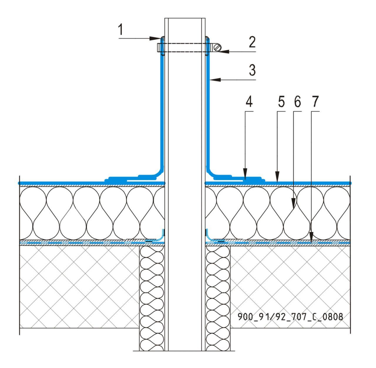 CAD Detalji - sustav lijepljenog krova - ventilacijska cijev