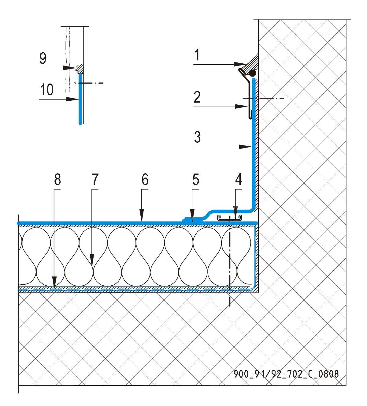CAD Detalji - sustav lijepljenog krova - vertikalna površina