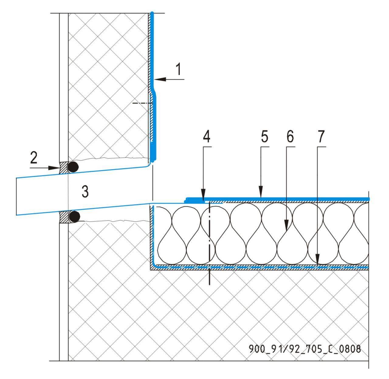 CAD Detalji - sustav lijepljenog krova - zidni slivnik