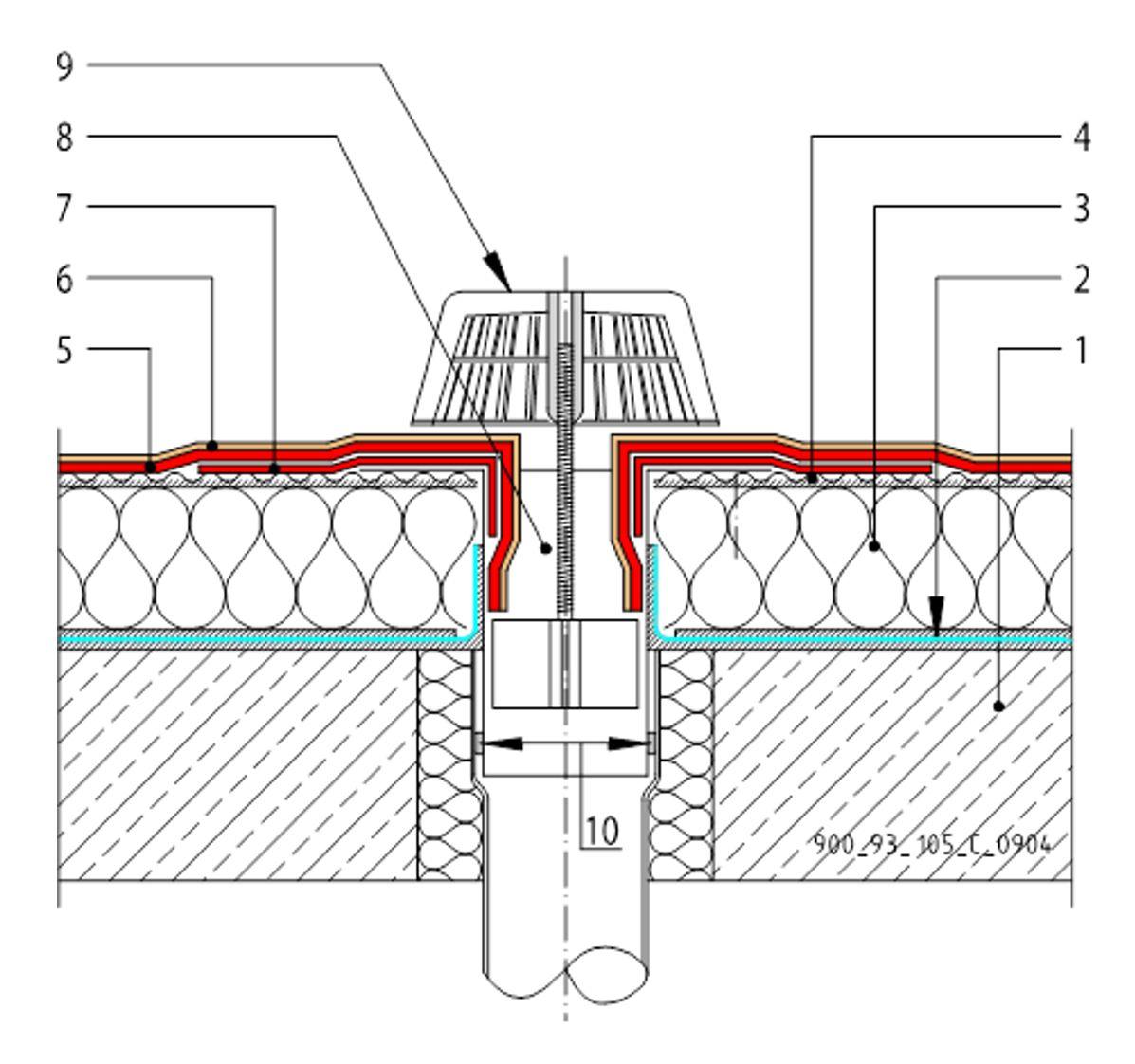 CAD Detalji - MTC membrane - vertikalni slivnik
