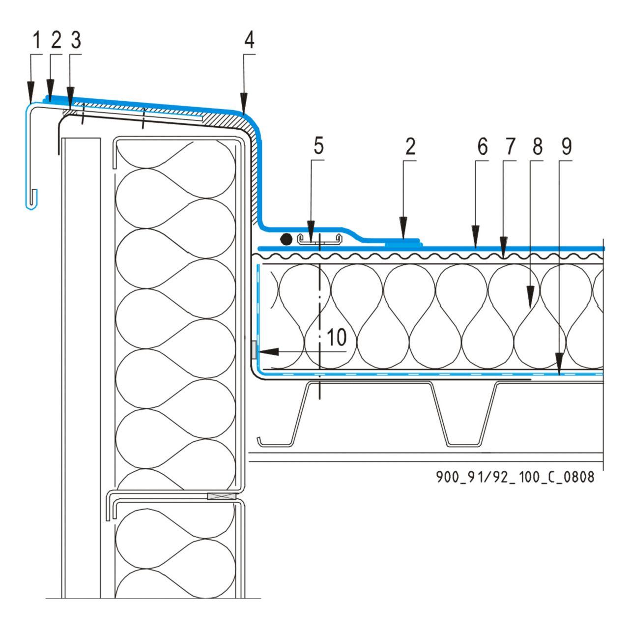 CAD Detalji - sustav mehanički prišvršćenog krova - parapetni zid