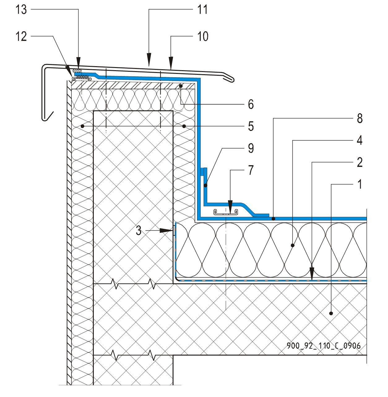 CAD Detalji - sustav mehanički prišvršćenog krova - parapetni zid sa metalnom okapnicom i zabrtvljenom membranom