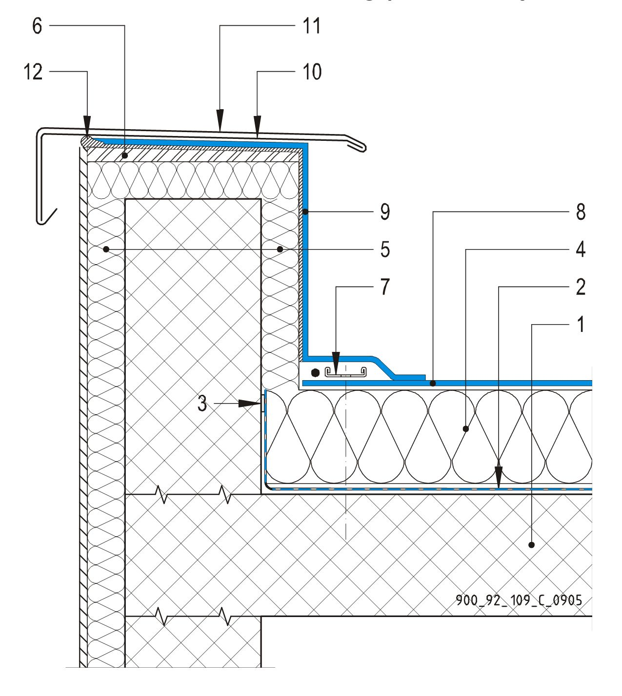 CAD Detalji - sustav mehanički pričvršćenog krova - parapetni zid s metalnom okapnicom