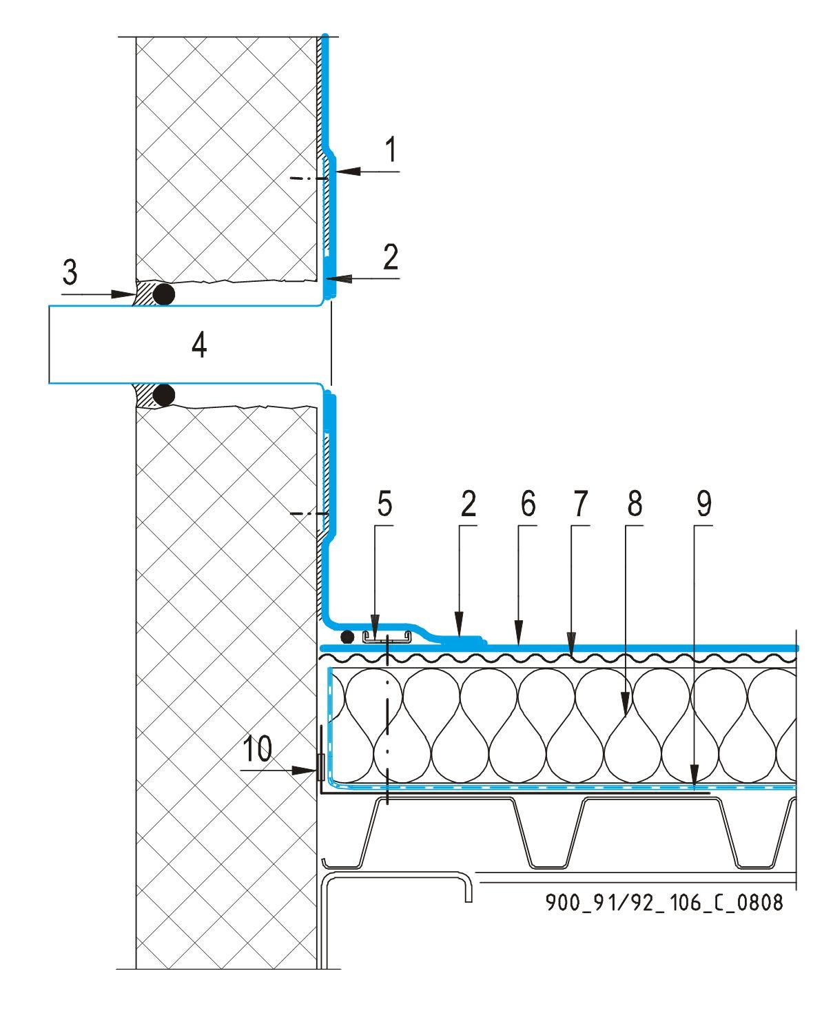 CAD Detalji - sustav mehanički prišvršćenog krova - preljev