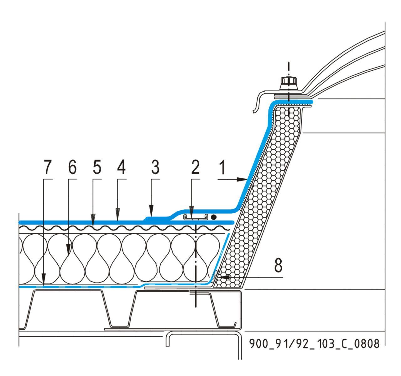 CAD Detalji - sustav mehanički prišvršćenog krova - svjetlarnik