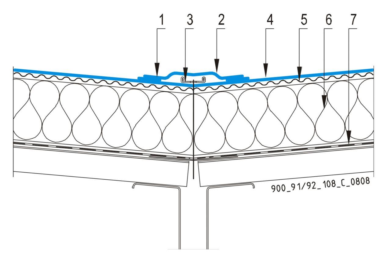 CAD Detalji - sustav mehanički prišvršćenog krova - uvala