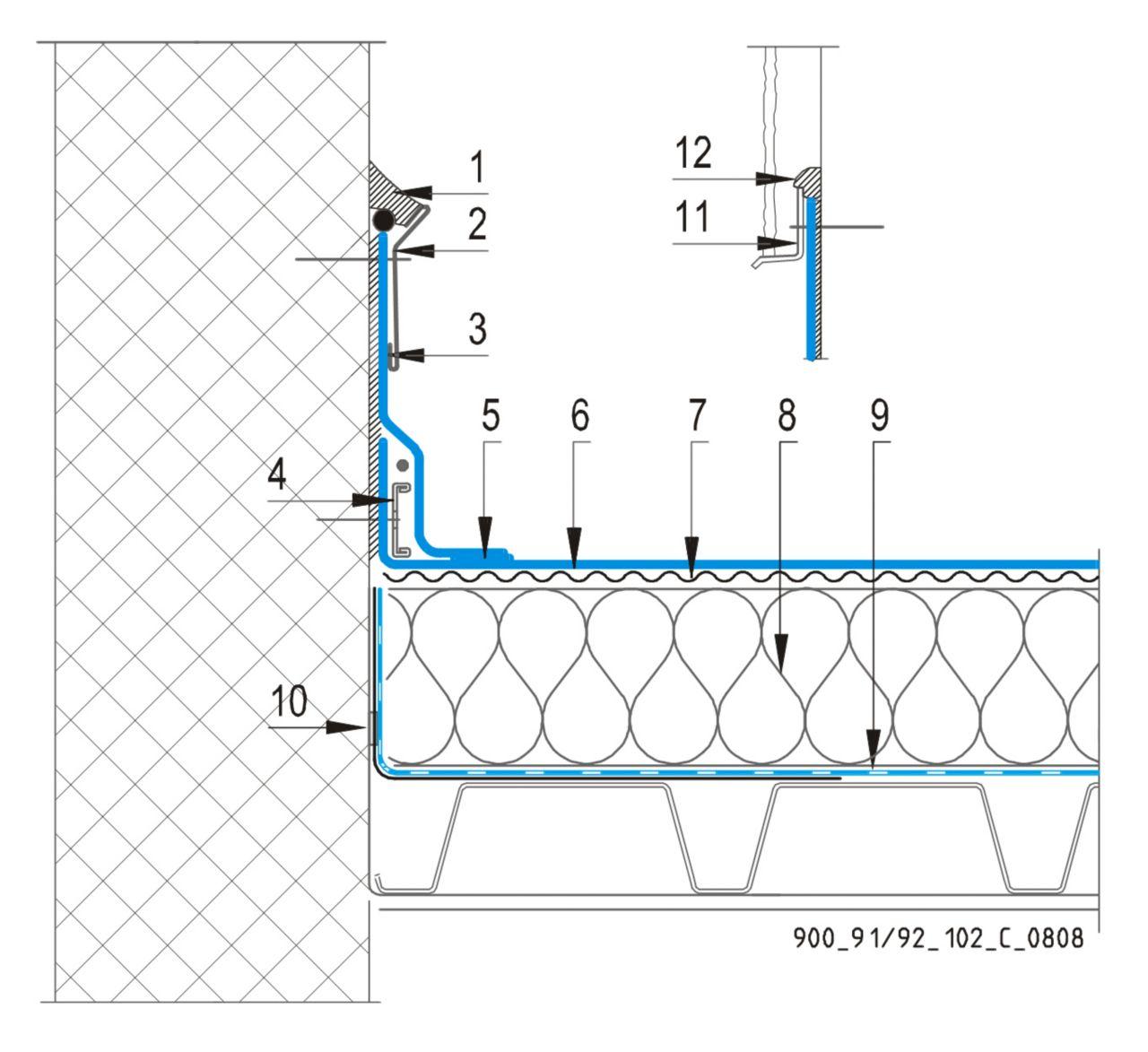 CAD Detalji - sustav mehanički prišvršćenog krova - vertikalna površina