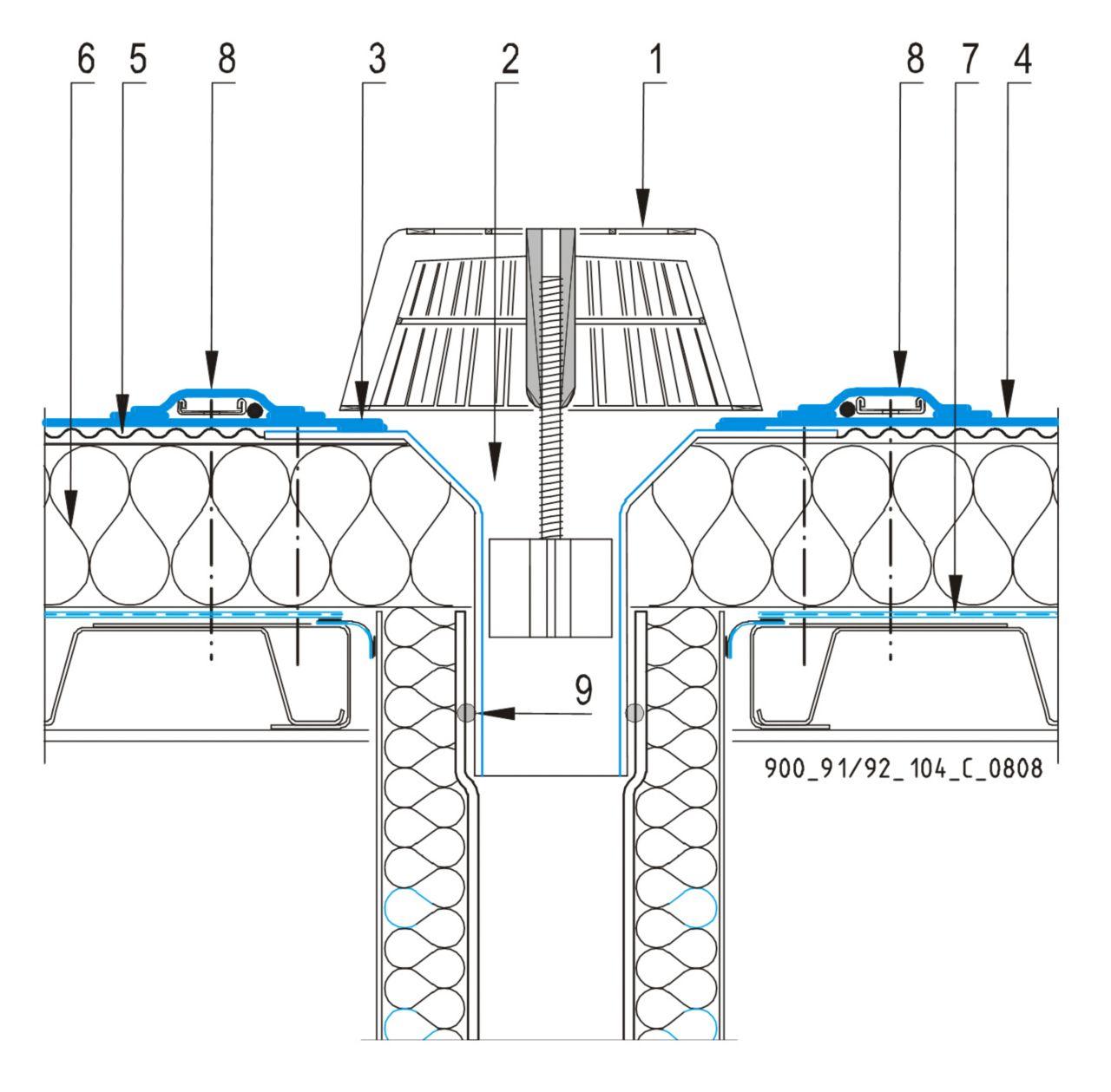 CAD Detalji - sustav mehanički prišvršćenog krova - vertikalni slivnik
