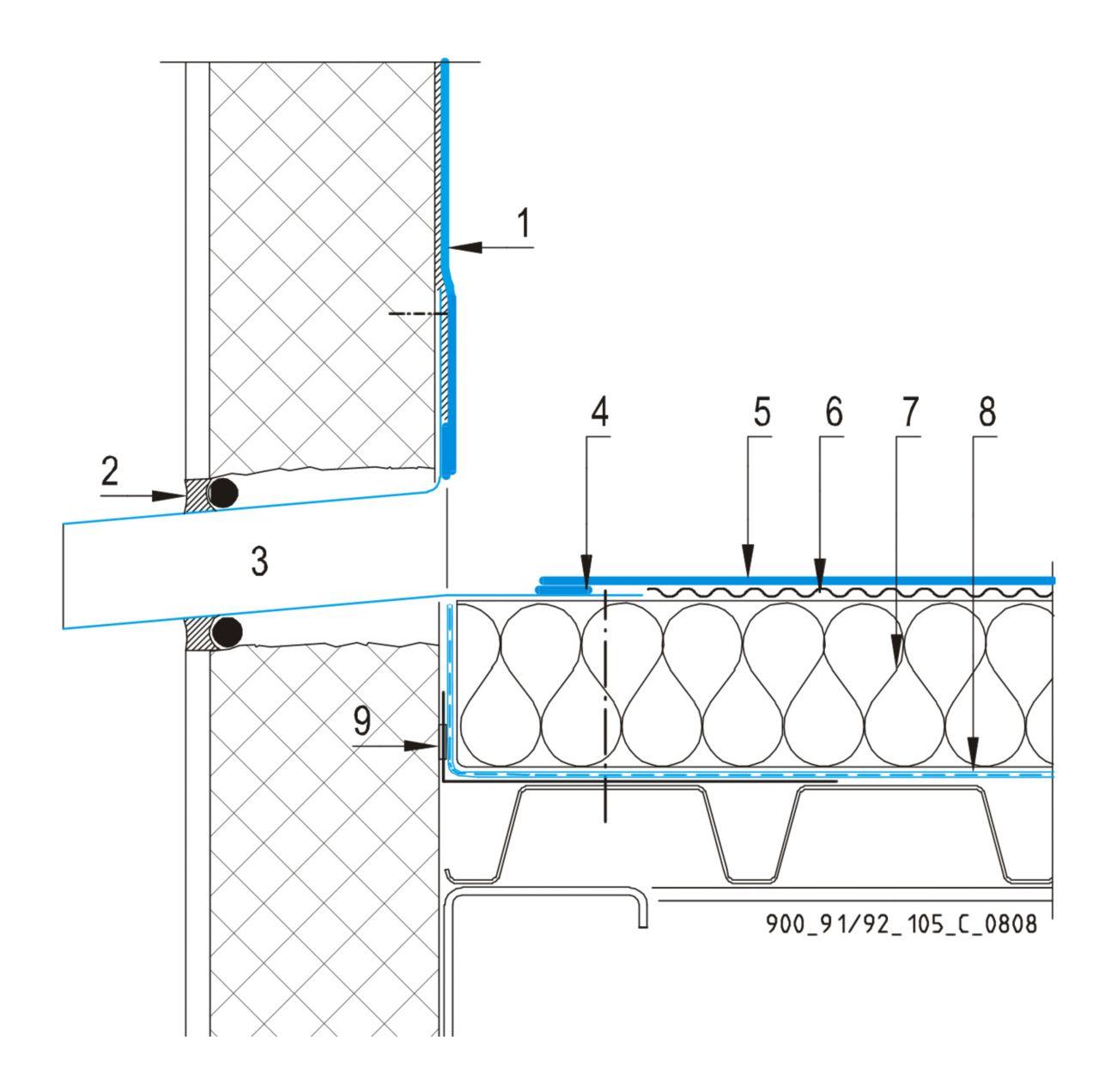 CAD Detalji - sustav mehanički prišvršćenog krova - zidni slivnik
