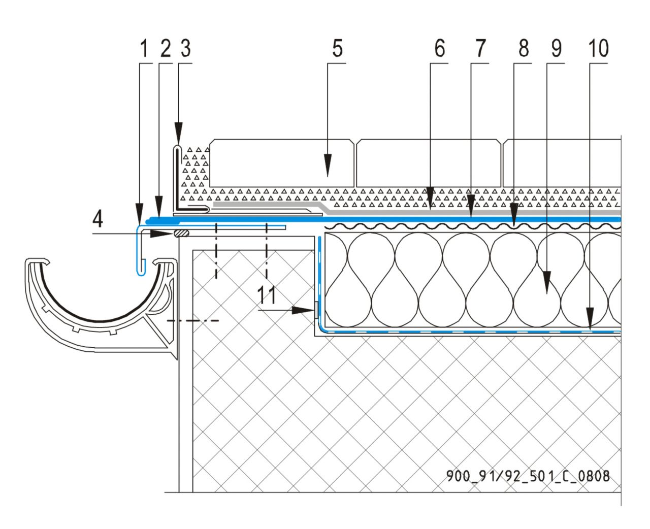 CAD Detalji - sustav prohodnog krova - odvodni kanal