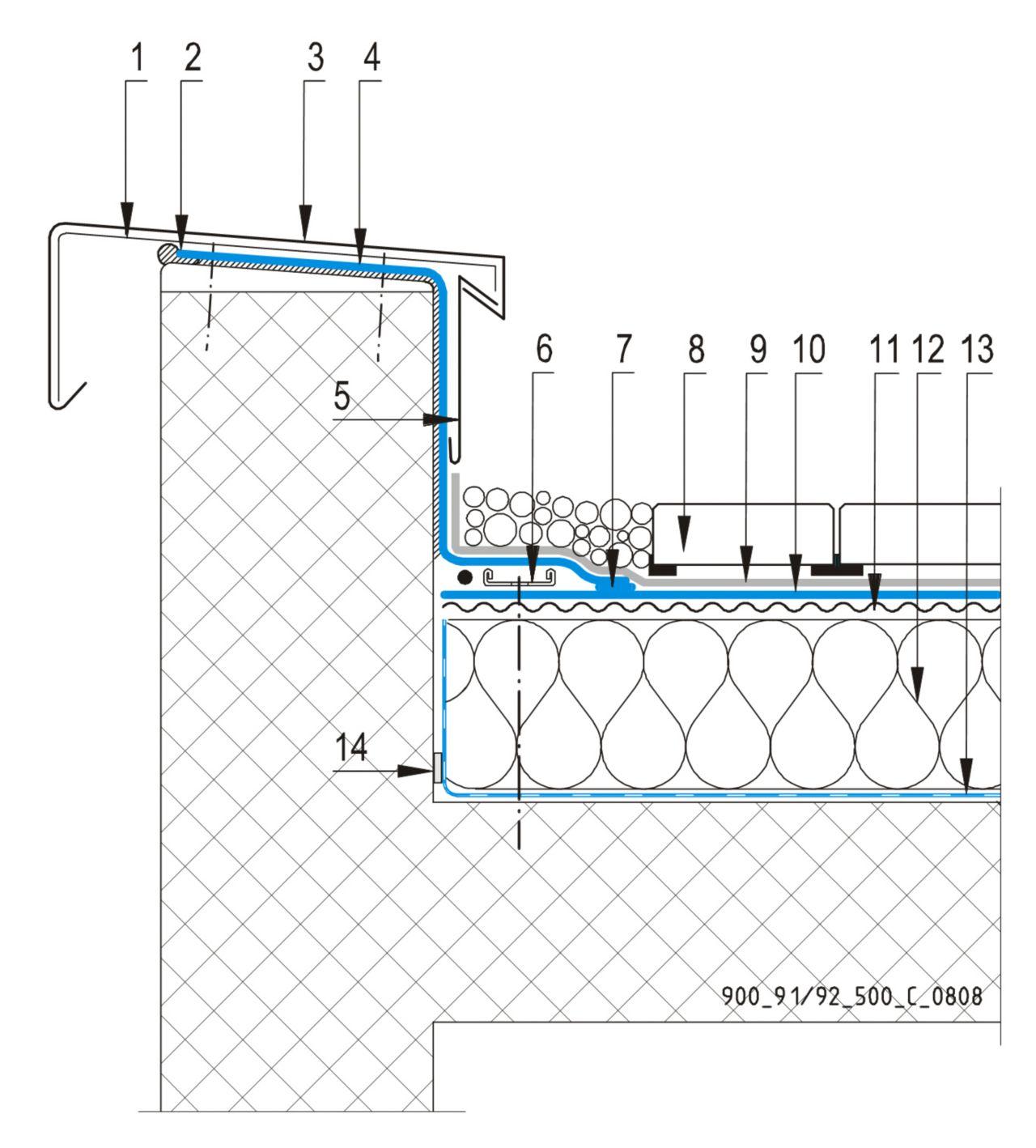 CAD Detalji - sustav prohodnog krova - parapetni zid