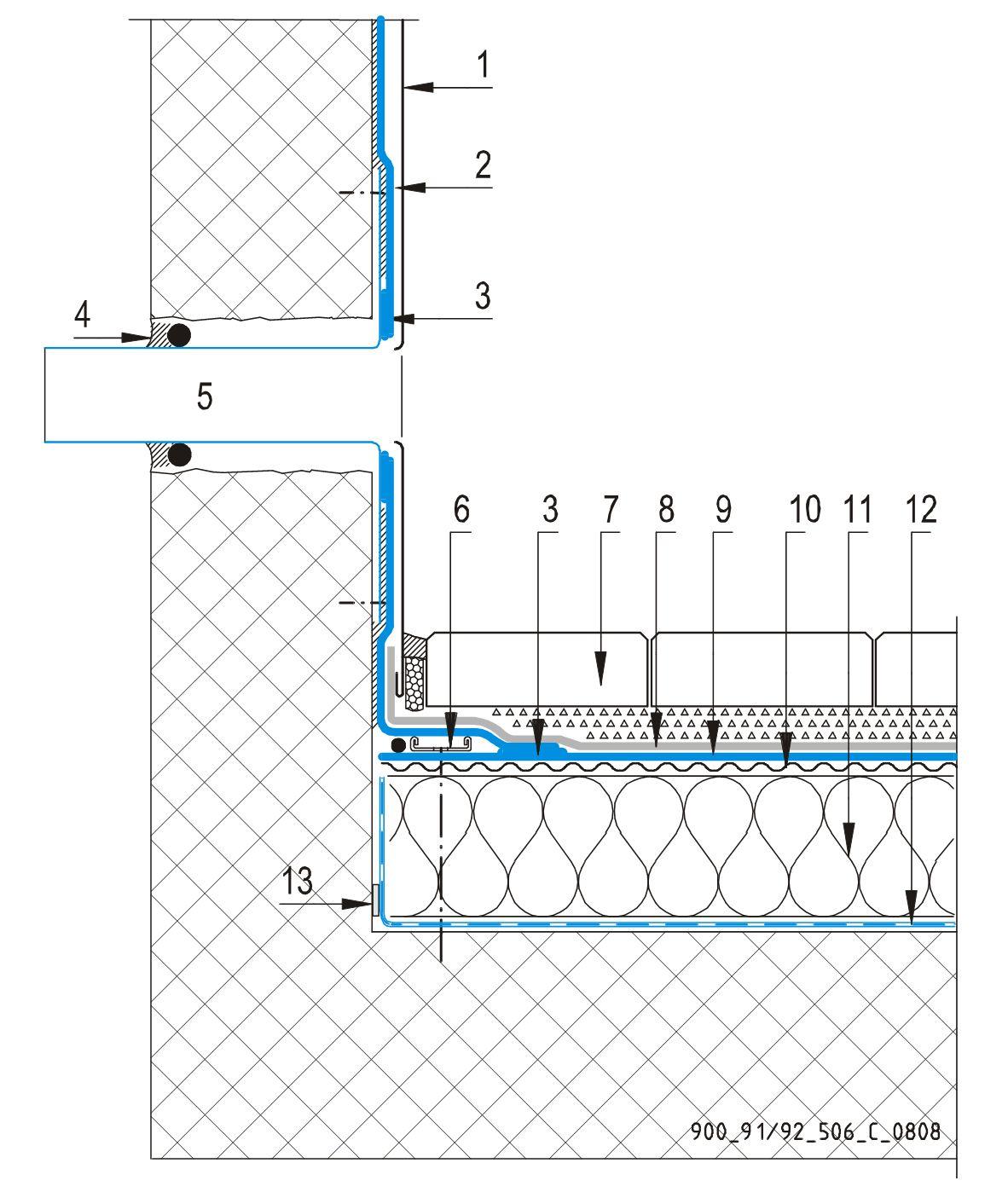 CAD Detalji - sustav prohodnog krova - preljev