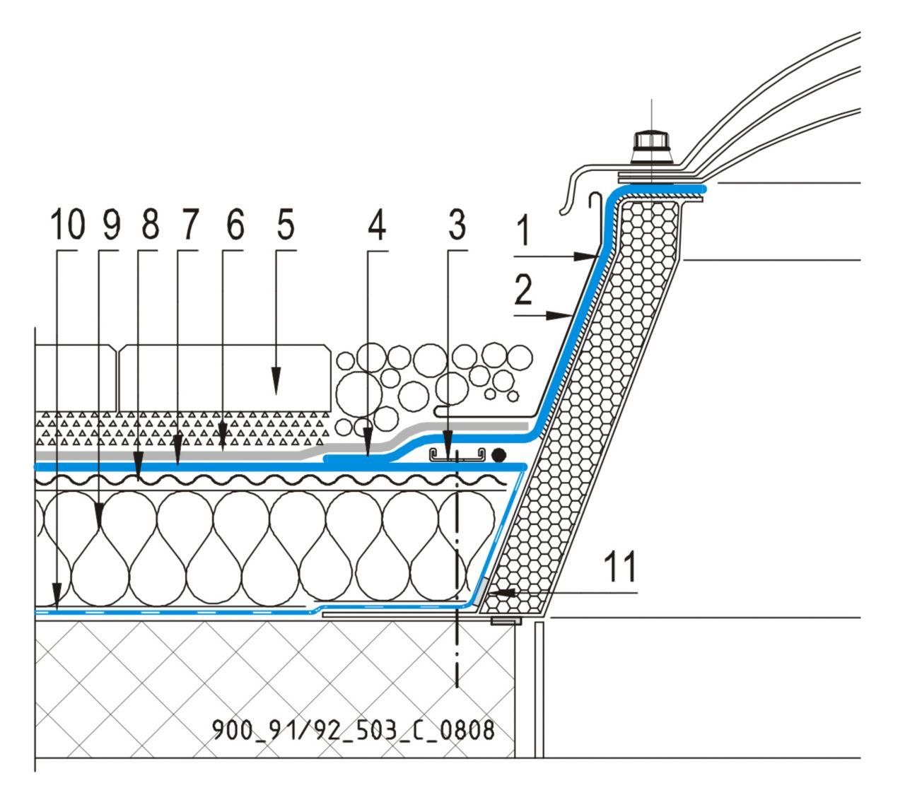 CAD Detalji - sustav prohodnog krova - svjetlarnik