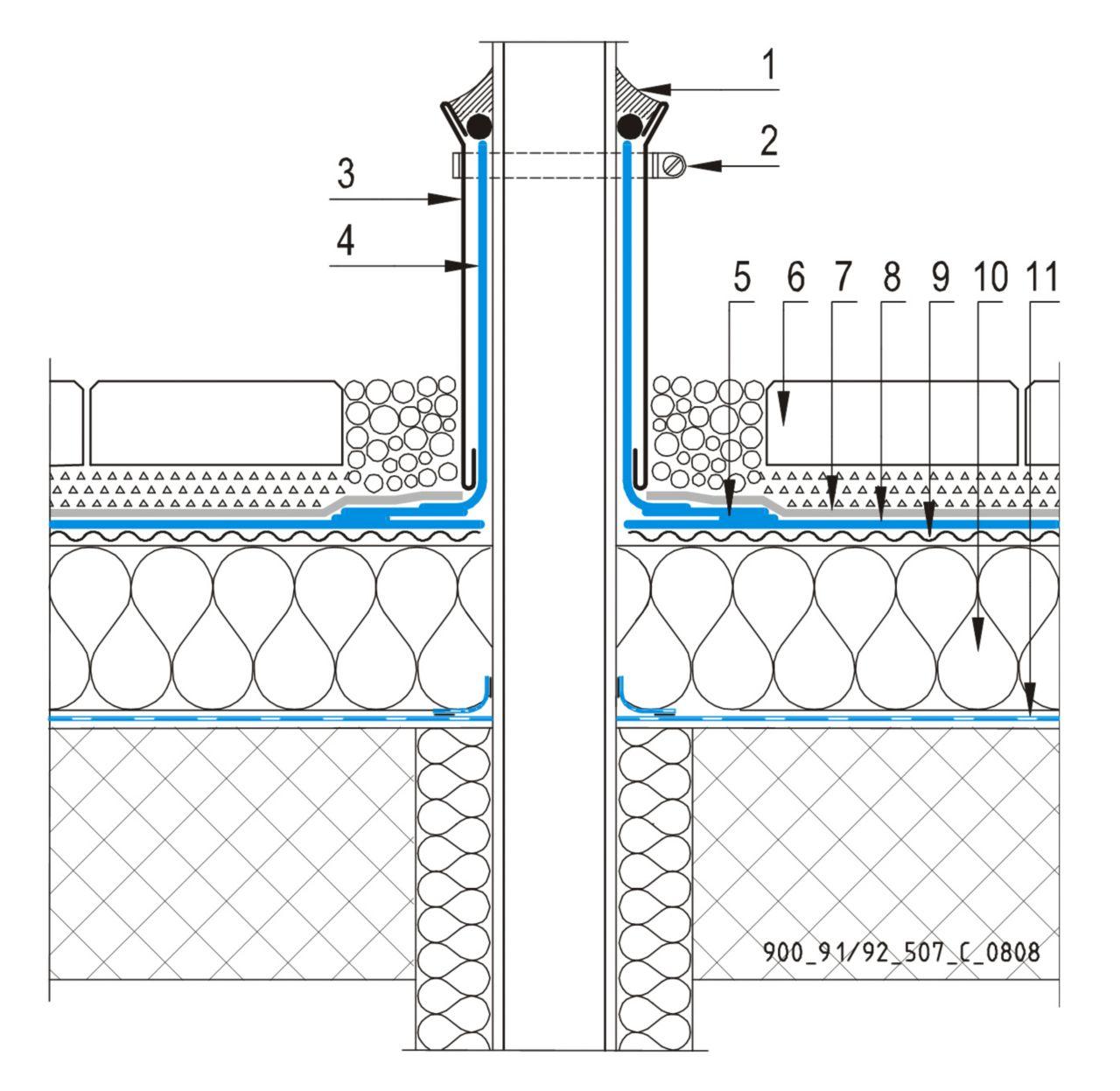 CAD Detalji - sustav prohodnog krova - ventilacijska cijev