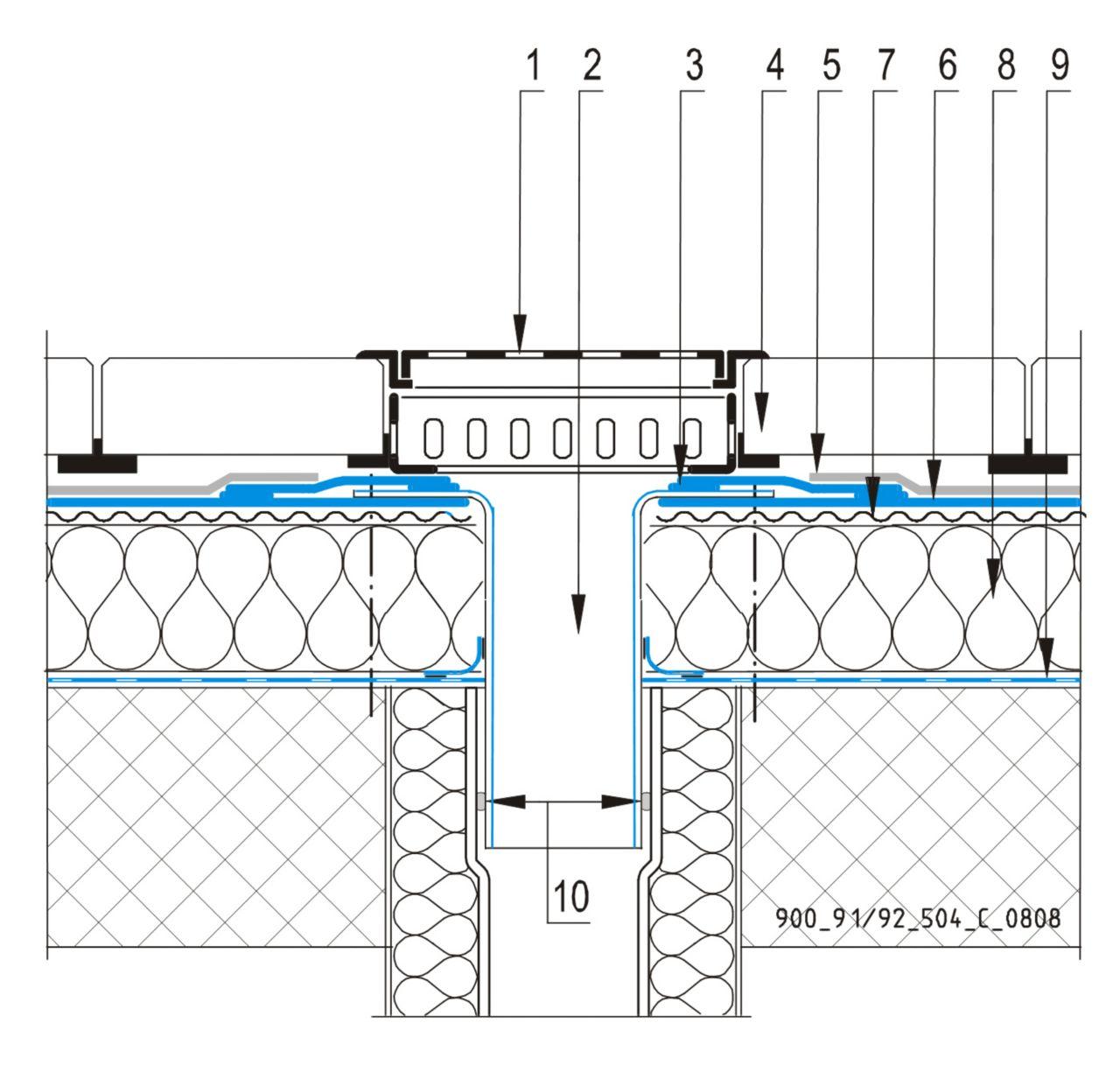CAD Detalji - sustav prohodnog krova - vertikalni slivnik