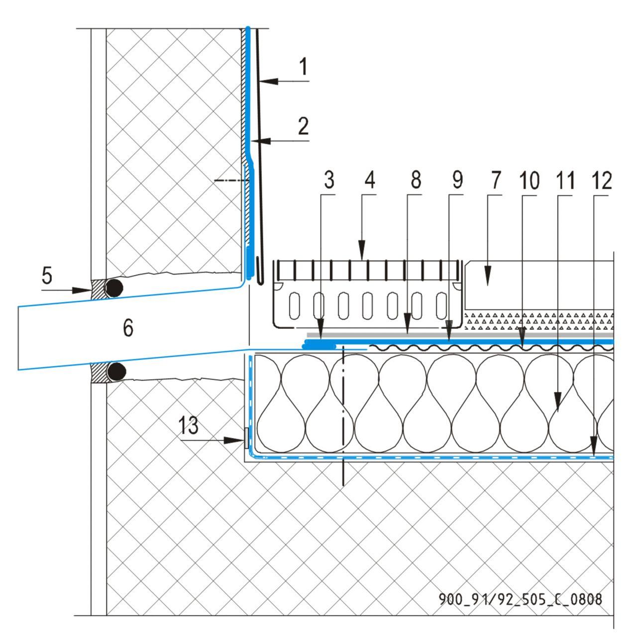 CAD Detalji - sustav prohodnog krova - zidni slivnik