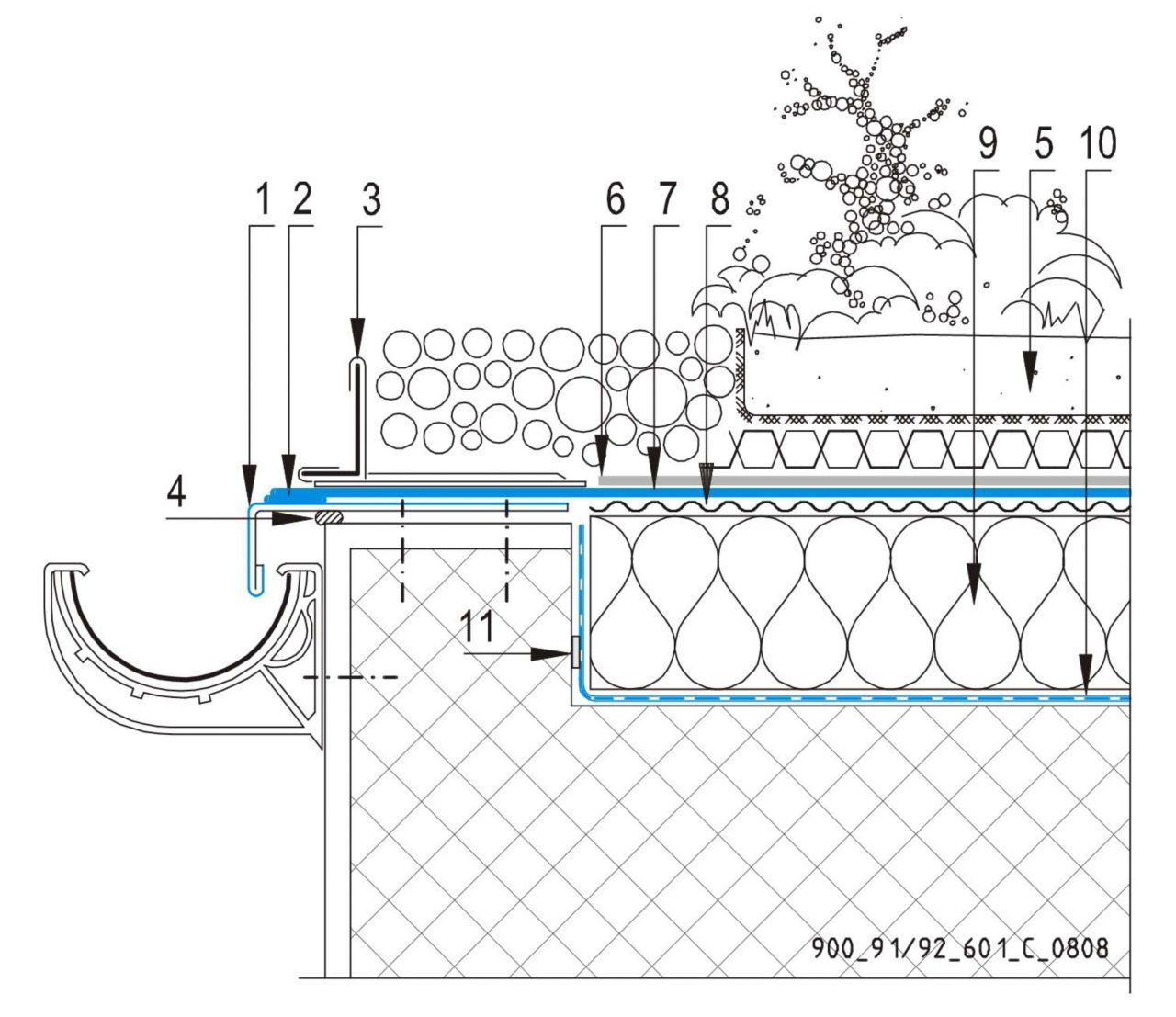 CAD Detalji - sustav zelenog krova - odvodni kanal