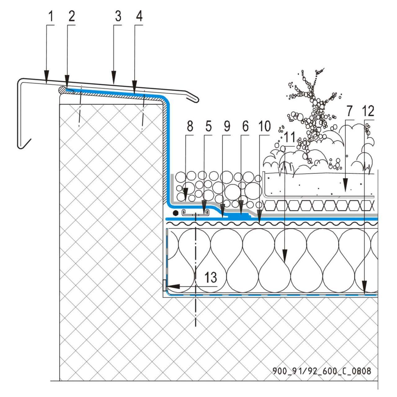 CAD Detalji - sustav zelenog krova - parapetni zid